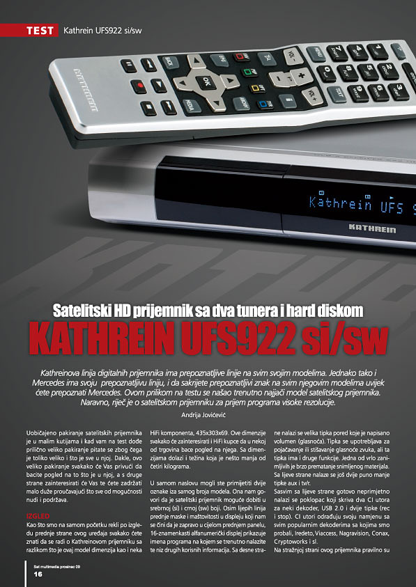 Sat-Multimedia Kathrein UFS922 si 16str
