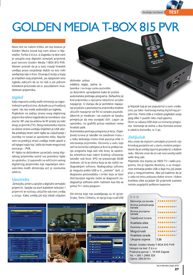Golden Media T-BOX 825 PVR test