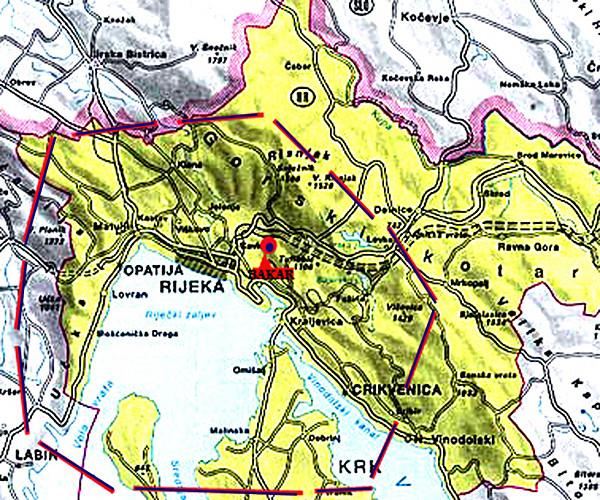 Karta pokrivenost - Pomorski Radio Bakar